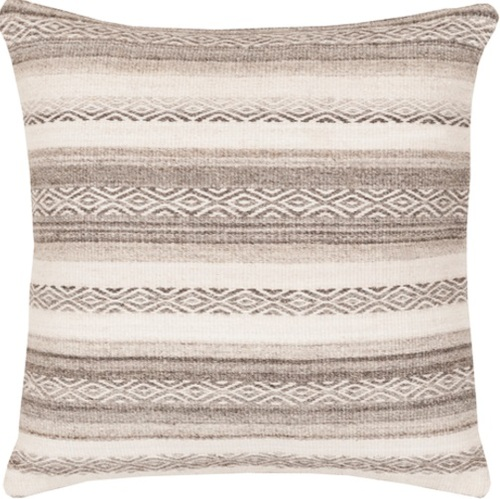 """30"""" Sand Brown and Beige Geometric Striped Square Throw Pillow - IMAGE 1"""