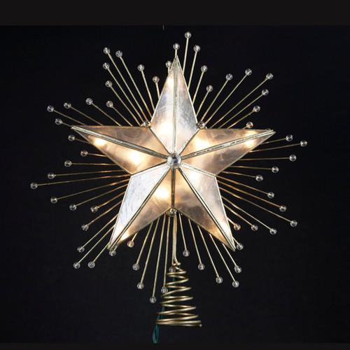 """8.75"""" Lighted Capiz Star with Beaded Sunbursts Christmas Tree Topper- Clear Lights - IMAGE 1"""
