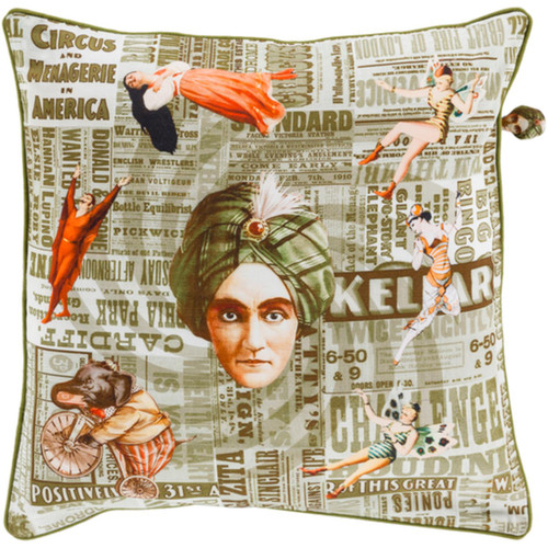 """18"""" Green and Orange Circus Square Throw Pillow - Down Filler - IMAGE 1"""