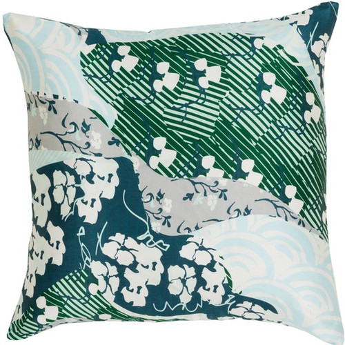 "22"" Forest Green and Lake Blue Floral Decorative Throw Pillow - Down Filler - IMAGE 1"