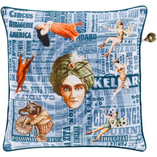 """20"""" Blue and Orange Circus Square Throw Pillow - Down Filler - IMAGE 1"""