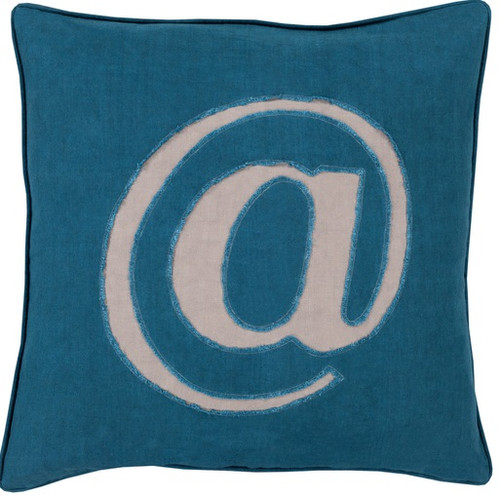 "20"" Teal Blue and Gray Trending Contemporary Square Throw Pillow - Down Filler - IMAGE 1"