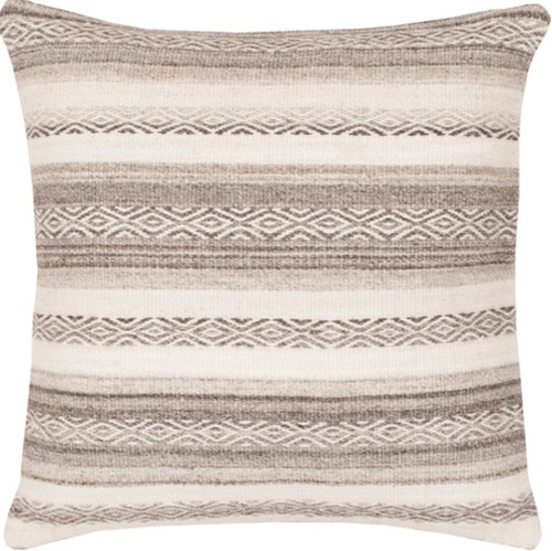 "18"" Brown and Ivory Geometric Striped Square Throw Pillow - Down Filler - IMAGE 1"