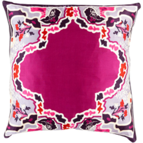 """20"""" Pink and Purple Square Silk Floral Throw Pillow - Down Filler - IMAGE 1"""