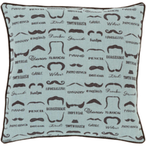 "22"" Aqua Blue and Brown Mustache Jacquard Throw Pillow - Down Filler - IMAGE 1"