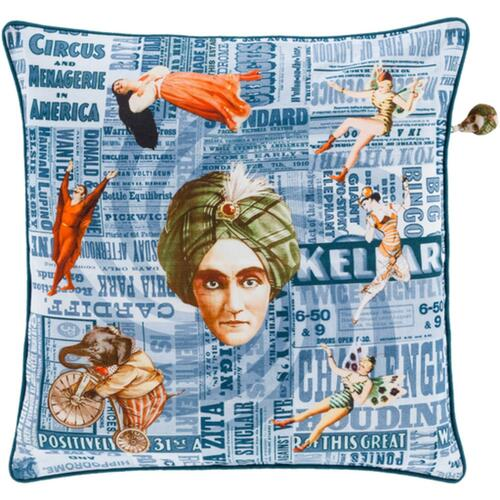 """18"""" Blue and Orange Circus Square Throw Pillow - Down Filler - IMAGE 1"""