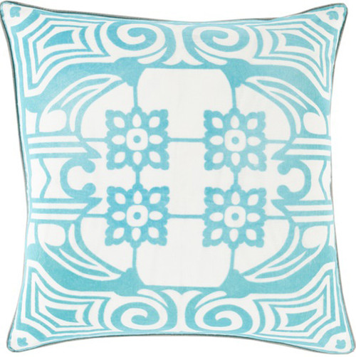 """22"""" Teal Blue and White Floral Patterned Square Throw Pillow - Down Filler - IMAGE 1"""