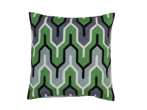 "20"" Green and Gray Geometric Square Throw Pillow - Down Filler - IMAGE 1"
