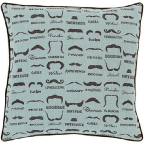 "18"" Aqua Blue and Brown Mustache Jacquard Throw Pillow - IMAGE 1"