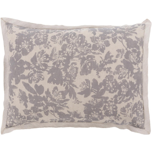 Battleship Grey and Cool Gray Elegant Blossom Dreams Linen Decorative Sham - IMAGE 1