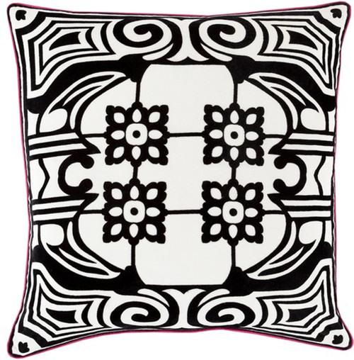 """22"""" Black and White Floral Patterned Square Throw Pillow - Down Filler - IMAGE 1"""