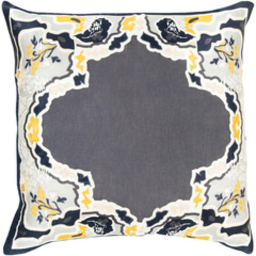 """22""""Gray and Yellow Floral Square Throw Pillow - Down Filler - IMAGE 1"""