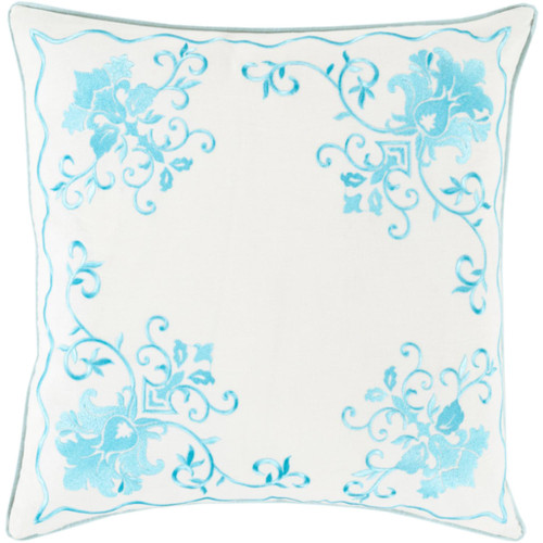 "20"" White and Blue Floral Square Throw Pillow - Down Filler - IMAGE 1"