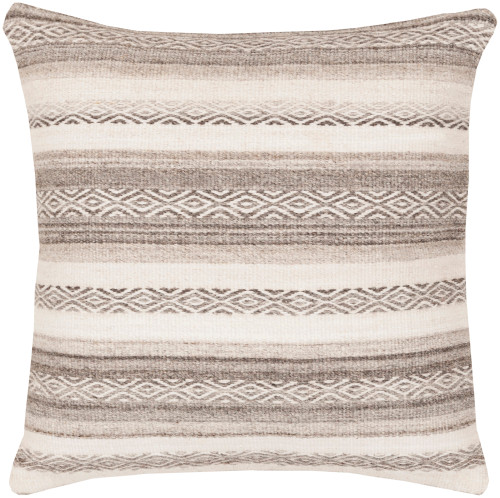 """20"""" Brown and Ivory Geometric Striped Square Throw Pillow - Down Filler - IMAGE 1"""