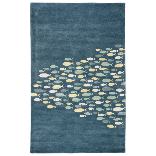 3.5' x 5.5' Pacific Blue and White Contemporary Hand Tufted Rectangular Outdoor Area Throw Rug - IMAGE 1