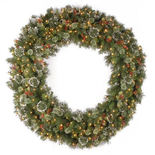 "60"" Pre-Lit Wintry Pine Artificial Christmas Wreath - Clear Lights - IMAGE 1"