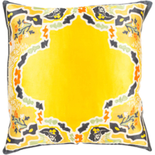 """22"""" Gold and Black Floral Square Throw Pillow - Down Filler - IMAGE 1"""