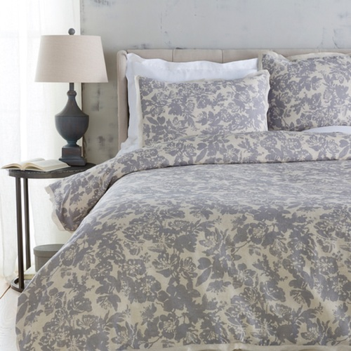 Battleship Grey and Cool Gray Elegant Blossom Dreams Linen Decorative Full/Queen Duvet - IMAGE 1