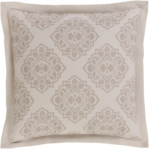 Buff Gray, and Deer Brown Linen and Cotton Diamond Floral Standard Sham - IMAGE 1