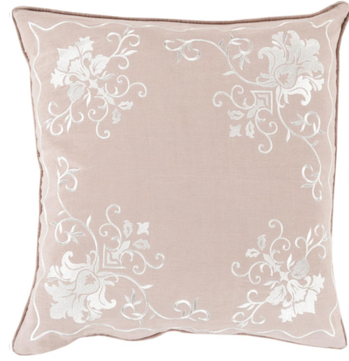 """20"""" Pink and White Floral Square Throw Pillow - Down Filler - IMAGE 1"""
