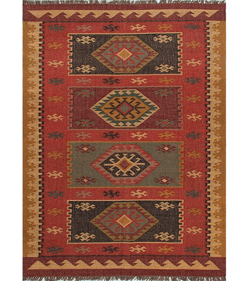 5' x 8' Red and Gold Tribal Hand Woven Jute Area Throw Rug - IMAGE 1