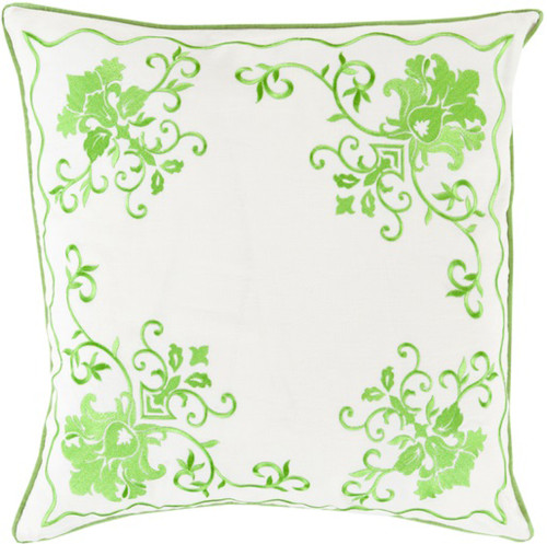 """22"""" White and Neon Green Floral Square Throw Pillow - Down Filler - IMAGE 1"""