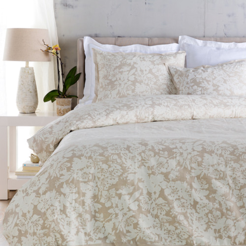 Cool Grey and Sandstone White Elegant Blossom Dreams Linen Decorative Twin Duvet - IMAGE 1
