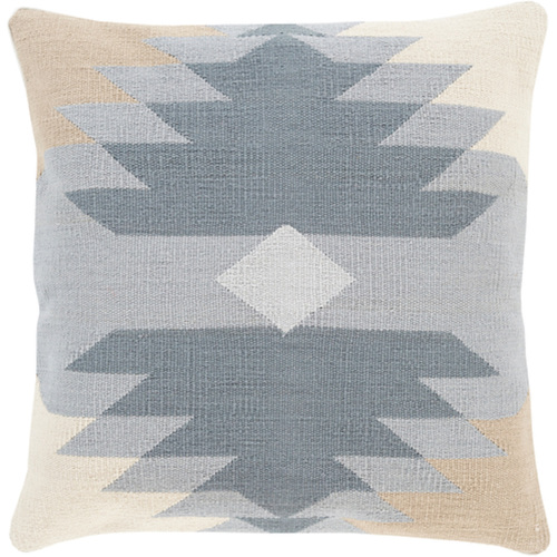 "18"" Gray and Brown Decorative Geometric Patterned Square Throw Pillow - Down Filler - IMAGE 1"