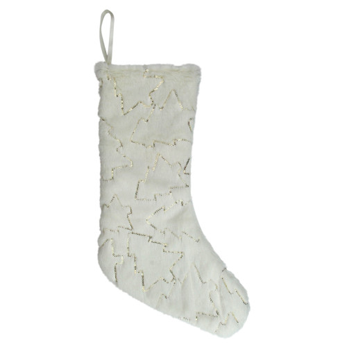 """18"""" White and Gold Christmas Stocking with Sequined Trees - IMAGE 1"""