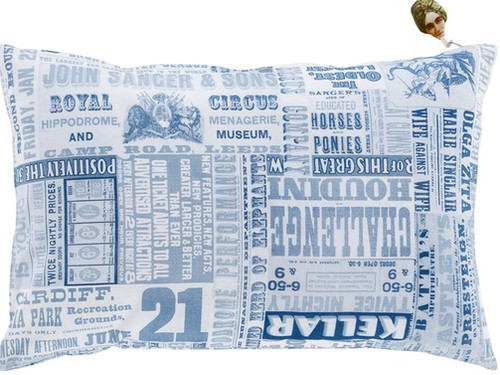 "22"" Blue and White Circus Square Throw Pillow - Down Filler - IMAGE 1"
