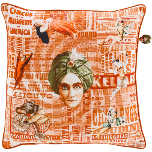 "22"" Orange and White Circus Square Throw Pillow - Down Filler - IMAGE 1"