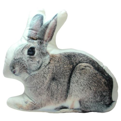 "16"" x 14"" Brown and Black Bunny Rabbit Throw Pillow - IMAGE 1"