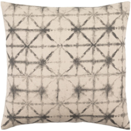 """22"""" Beige and Black Contemporary Square Throw Pillow - Down Filler - IMAGE 1"""