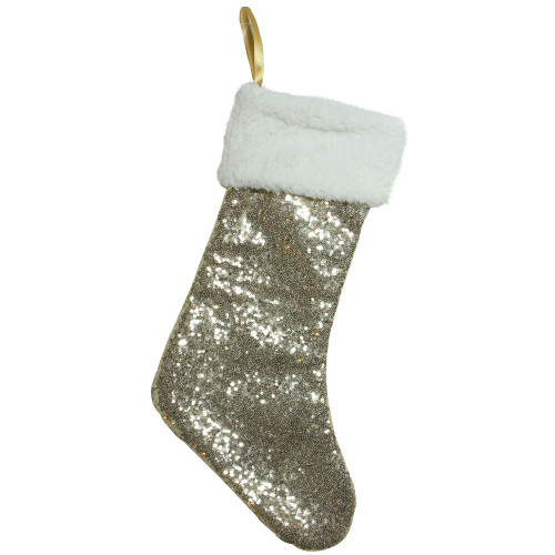 """18"""" Gold Paillette Sequins Christmas Stocking with Sherpa Cuff - IMAGE 1"""