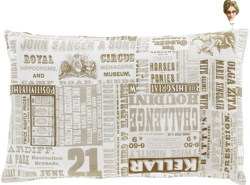 "13"" x 20"" Green and White Circus Square Throw Pillow - Down Filler - IMAGE 1"