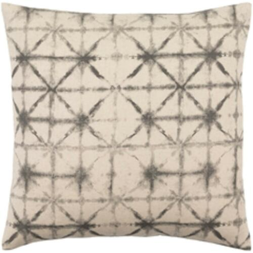 """20"""" Oatmeal White and Coal Black Contemporary Decorative Throw Pillow – Down Filler - IMAGE 1"""