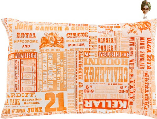 "22"" Orange and White Contemporary Circus Square Throw Pillow - Down Filler - IMAGE 1"