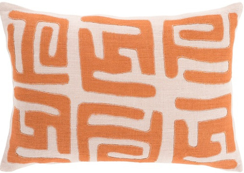 """19"""" Burnt Orange and Tan Brown Contemporary Throw Pillow - Down Filler - IMAGE 1"""