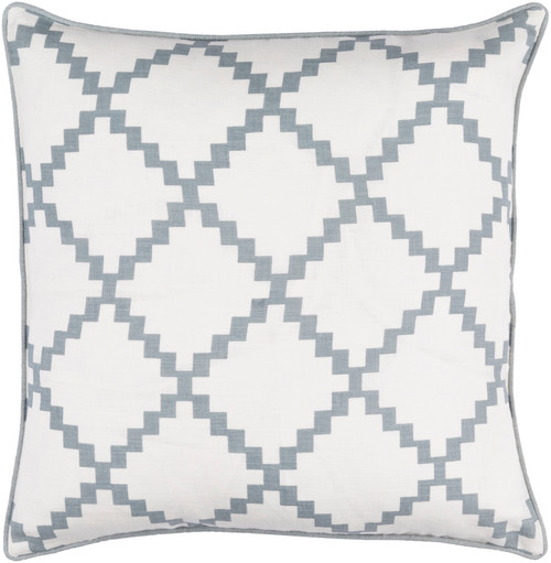 "18"" White and Ash Gray Woven Square Throw Pillow - Down Filler - IMAGE 1"