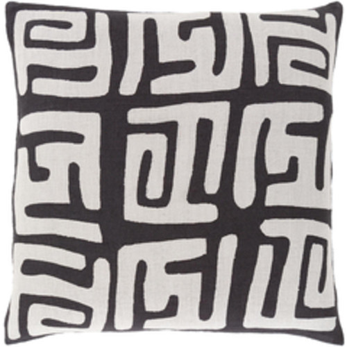 """20"""" White and Black Contemporary Square Throw Pillow - Down Filler - IMAGE 1"""