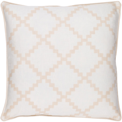 """18"""" White and Beige Woven Square Throw Pillow - IMAGE 1"""