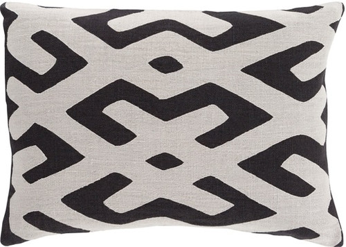 """19"""" Black and White Contemporary Throw Pillow - Down Filler - IMAGE 1"""