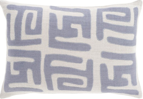 "19"" Mist Gray and Blue Contemporary Square Throw Pillow - IMAGE 1"