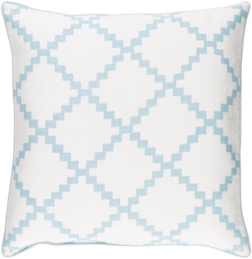"18"" White and Aqua Blue Woven Square Throw Pillow - IMAGE 1"