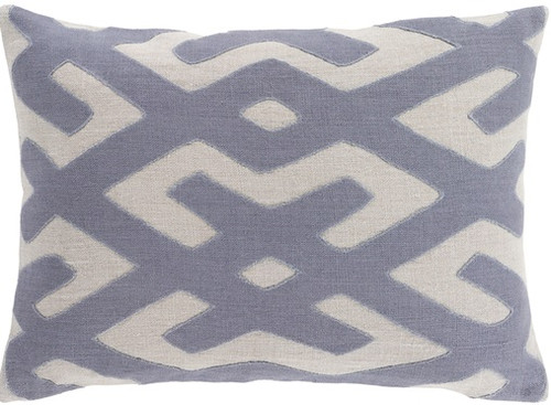"""19"""" Abalone Gray and Stone Blue Contemporary Throw Pillow - Down Filler - IMAGE 1"""
