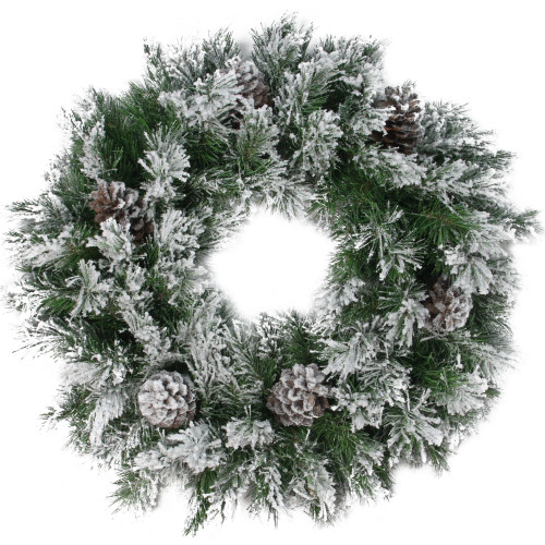 """24"""" Green and Brown Flocked Angel Pine with Pine Cones Artificial Christmas Wreath - Unlit - IMAGE 1"""