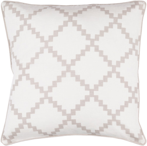 """22"""" White and Taupe Gray Woven Square Throw Pillow - Down Filler - IMAGE 1"""