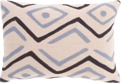 """19"""" Beige and Black Contemporary Throw Pillow - Down Filler - IMAGE 1"""