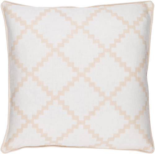 """22"""" White and Beige Woven Square Throw Pillow - Down Filler - IMAGE 1"""