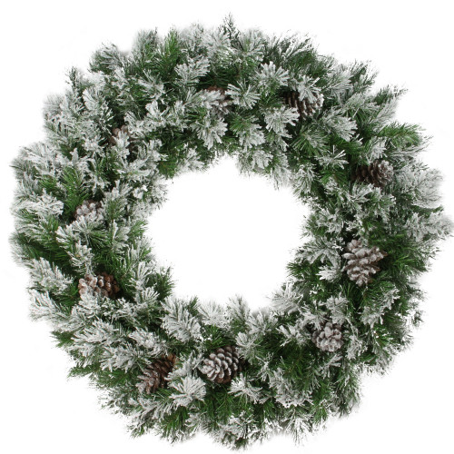 """36"""" Green and White Flocked Angel Pine with Pine Cones Artificial Christmas Wreath - Unlit - IMAGE 1"""